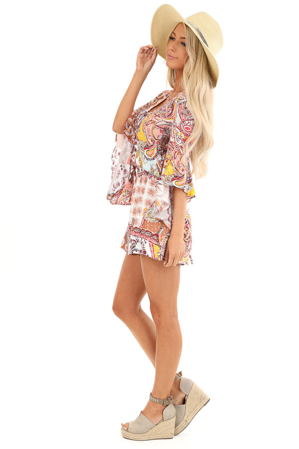 Multi Color Paisley Print Romper with Lace Up Front Details side full body