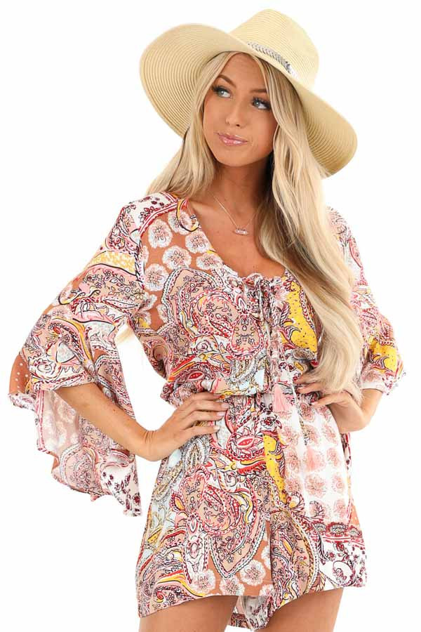 Multi Color Paisley Print Romper with Lace Up Front Details front close up