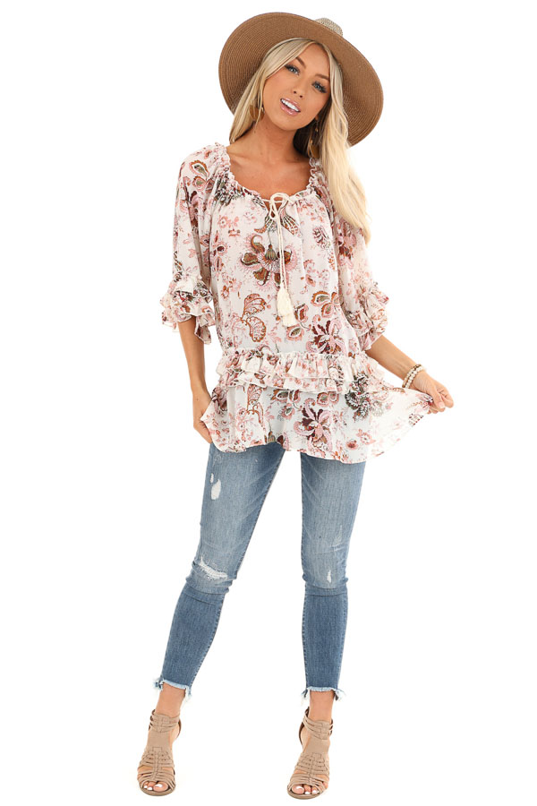 Ivory Floral Print Sheer Chiffon Top with Tie and Ruffles front full body