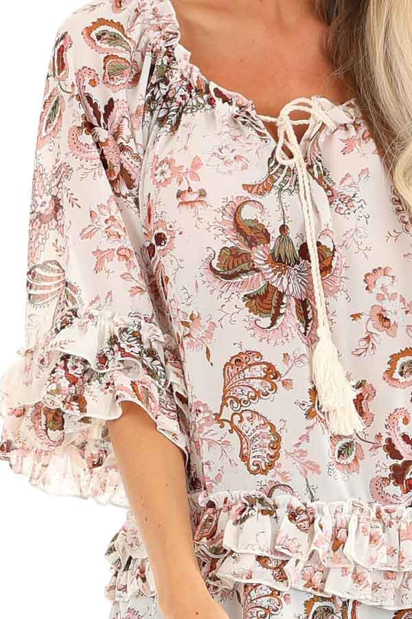 Ivory Floral Print Sheer Chiffon Top with Tie and Ruffles detail