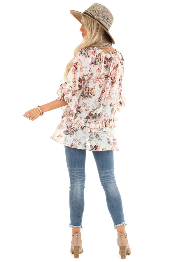 Ivory Floral Print Sheer Chiffon Top with Tie and Ruffles back full body