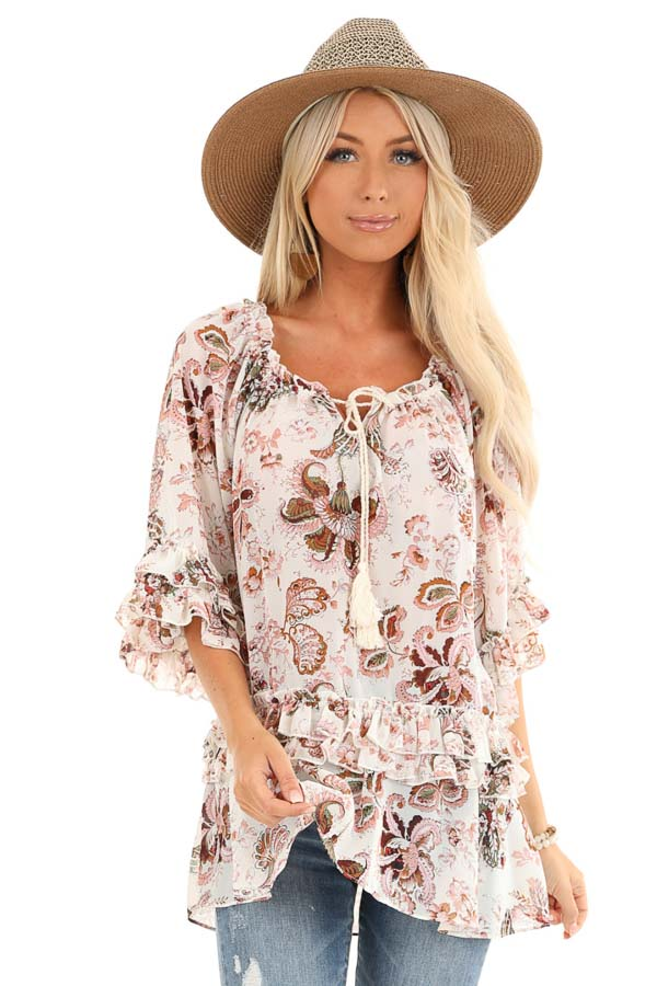 Ivory Floral Print Sheer Chiffon Top with Tie and Ruffles front close up