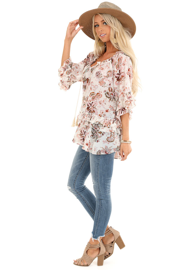 Ivory Floral Print Sheer Chiffon Top with Tie and Ruffles side full body