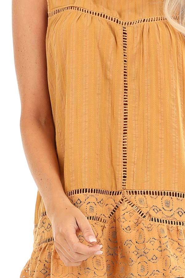 Golden Sleeveless Tank Top with Floral Lace Details detail