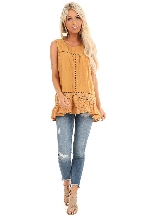 Golden Sleeveless Tank Top with Floral Lace Details front full body