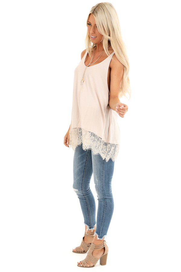 Nude Ribbed Low Cut Scoop Neck Tank Top with Lace Trim side full body