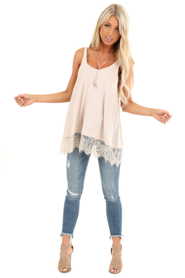 Nude Ribbed Low Cut Scoop Neck Tank Top with Lace Trim front full body