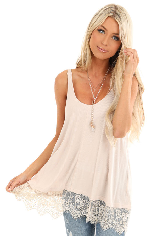 Nude Ribbed Low Cut Scoop Neck Tank Top with Lace Trim front close up