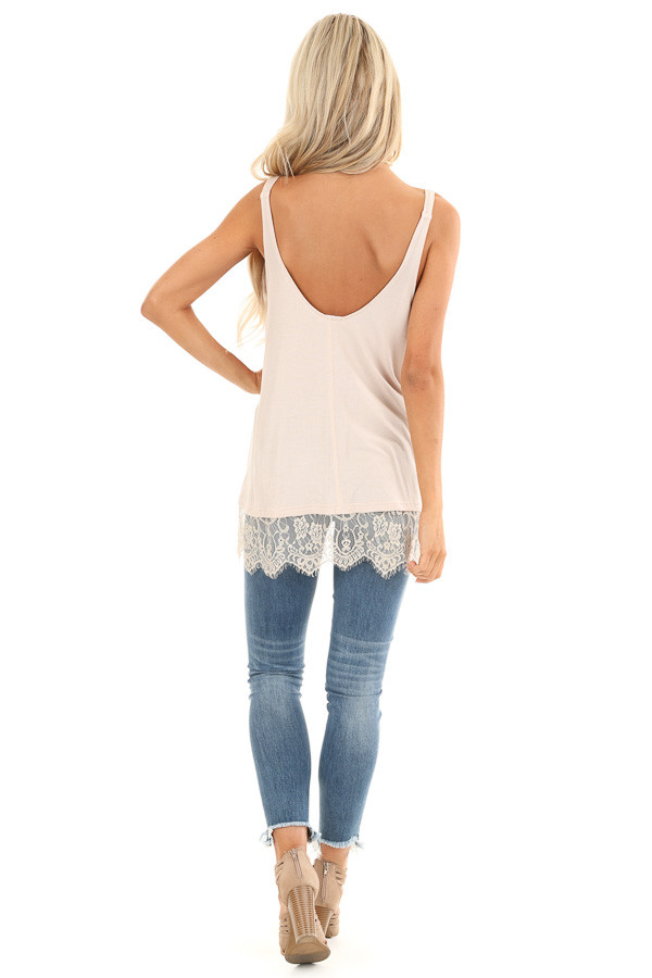 Nude Ribbed Low Cut Scoop Neck Tank Top with Lace Trim back full body