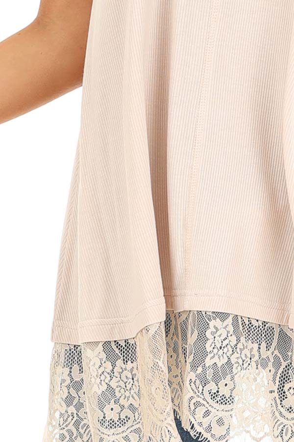 Nude Ribbed Low Cut Scoop Neck Tank Top with Lace Trim detail