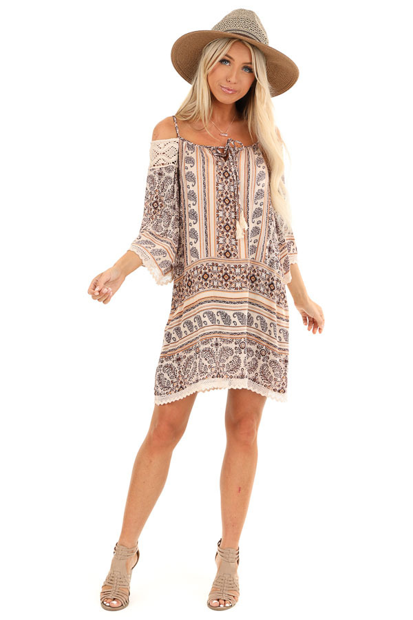 Beige and Chocolate Multi Print Cold Shoulder Mini Dress front full body