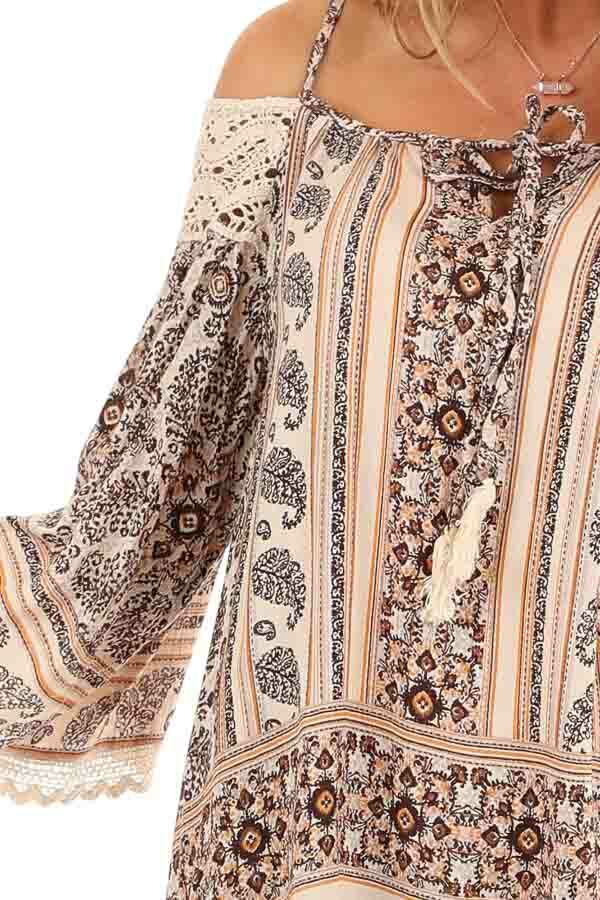 Beige and Chocolate Multi Print Cold Shoulder Mini Dress detail