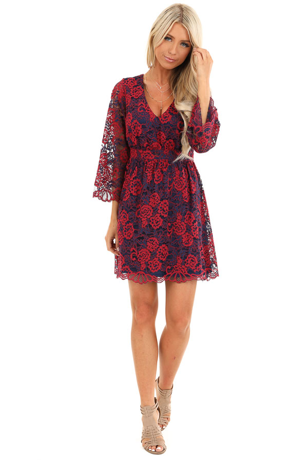 Scarlet and Navy Lace V Neck Dress with 3/4 Sheer Sleeves front full body