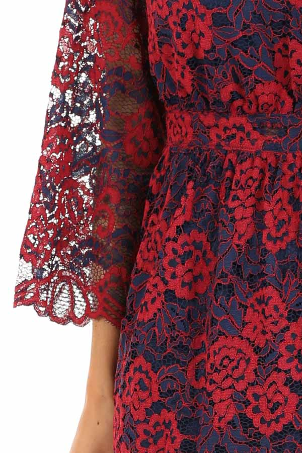 Scarlet and Navy Lace V Neck Dress with 3/4 Sheer Sleeves detail