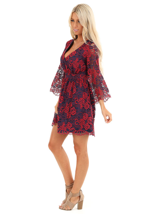 Scarlet and Navy Lace V Neck Dress with 3/4 Sheer Sleeves side full body
