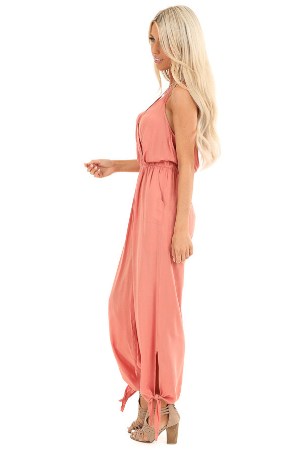 Salmon V Neck Surplice Style Jumpsuit with Side Pockets side full body