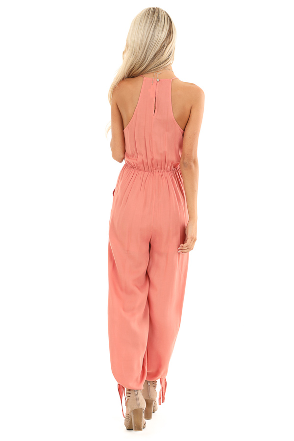 Salmon V Neck Surplice Style Jumpsuit with Side Pockets back full body