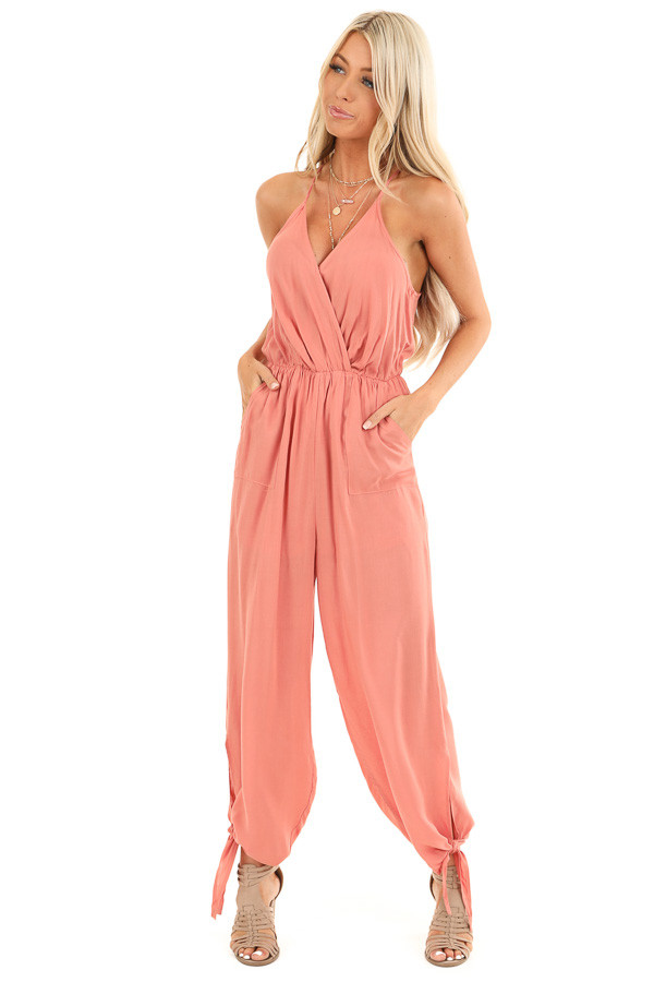 Salmon V Neck Surplice Style Jumpsuit with Side Pockets front full body