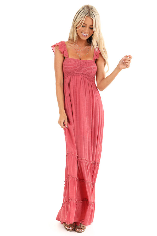 Raspberry Ruffled Off Shoulder Maxi Dress with Side Slits front full body