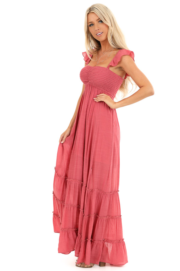 Raspberry Ruffled Off Shoulder Maxi Dress with Side Slits side full body