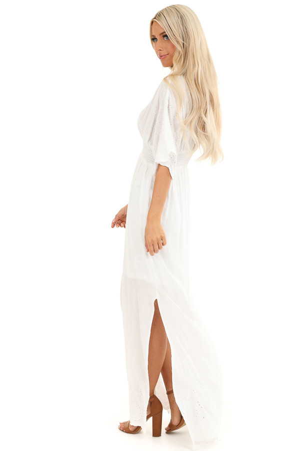 Coconut White Kimono Sleeve Maxi Dress with Floral Stitching side full body