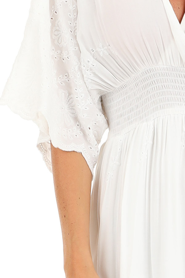 Coconut White Kimono Sleeve Maxi Dress with Floral Stitching detail