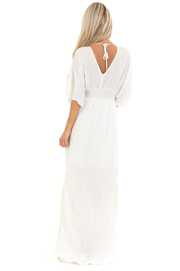 Coconut White Kimono Sleeve Maxi Dress with Floral Stitching back full body