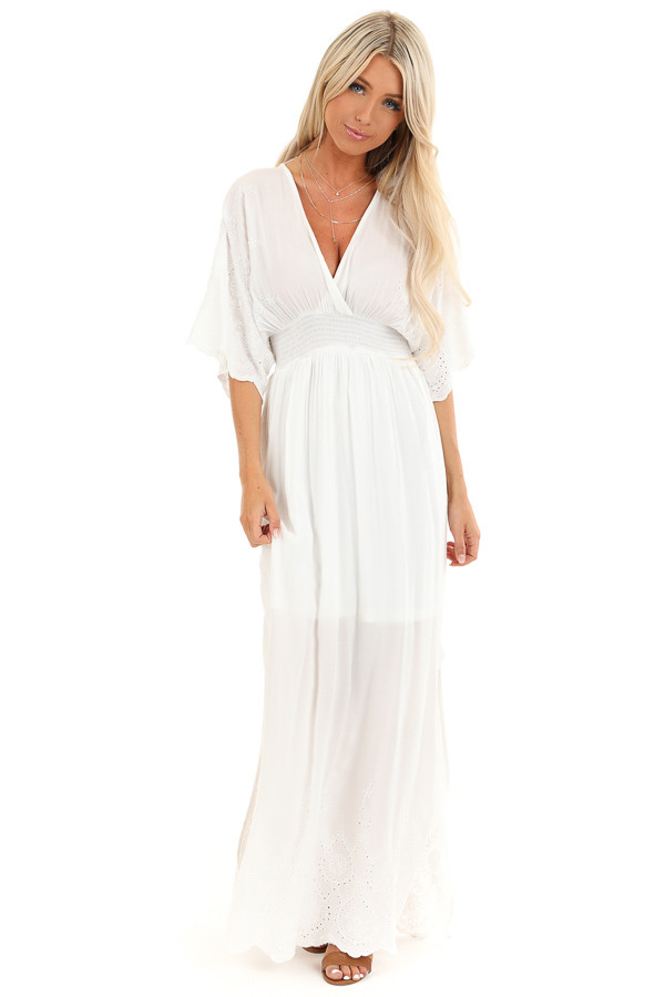 Coconut White Kimono Sleeve Maxi Dress with Floral Stitching front full body