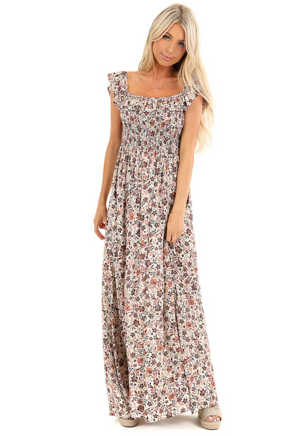 Cream Floral Off the Shoulder Smocked Maxi Dress front full body