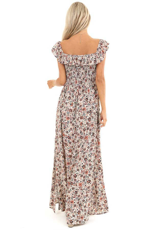 Cream Floral Off the Shoulder Smocked Maxi Dress back full body