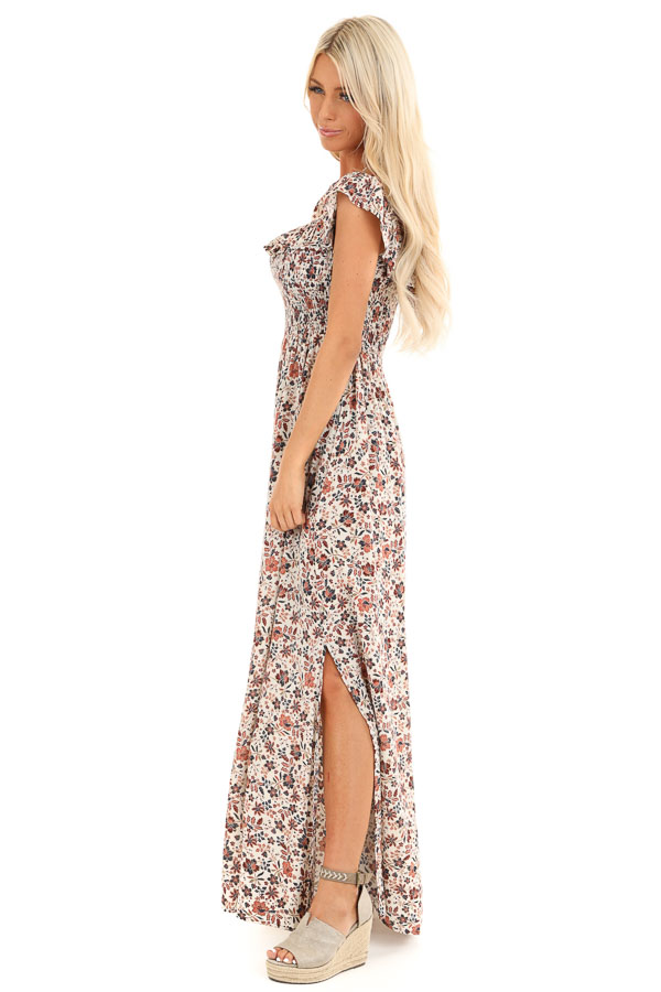 Cream Floral Off the Shoulder Smocked Maxi Dress side full body