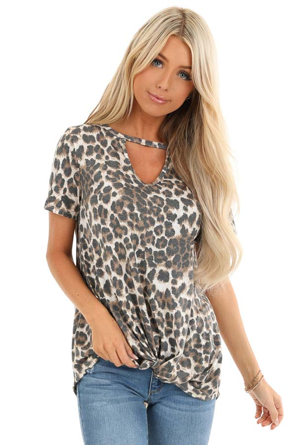 Mocha Leopard Print Top with Front Twist and Neckline Cutout front close up