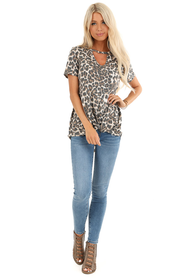 Mocha Leopard Print Top with Front Twist and Neckline Cutout front full body