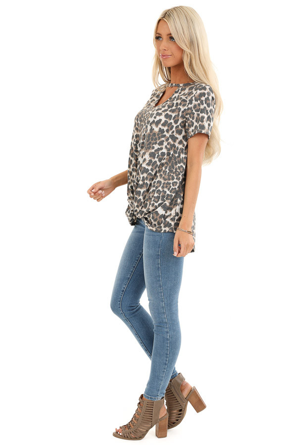 Mocha Leopard Print Top with Front Twist and Neckline Cutout side full body