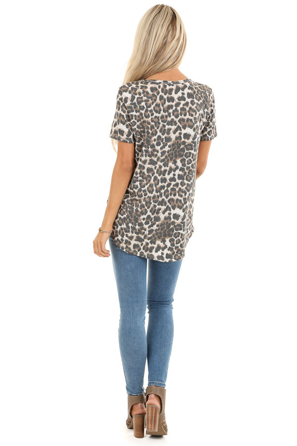 Mocha Leopard Print Top with Front Twist and Neckline Cutout back full body