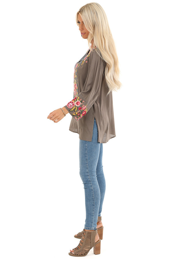 Deep Taupe Long Sleeve Top with Floral Embroidery Details side full body