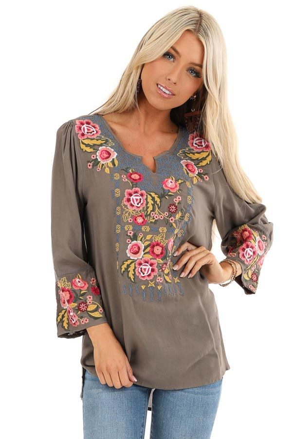 Deep Taupe Long Sleeve Top with Floral Embroidery Details front close up