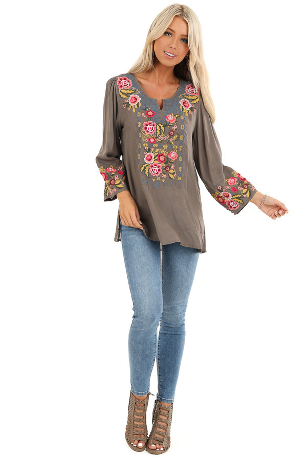 Deep Taupe Long Sleeve Top with Floral Embroidery Details front full body
