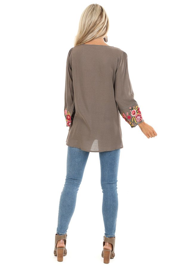 Deep Taupe Long Sleeve Top with Floral Embroidery Details back full body
