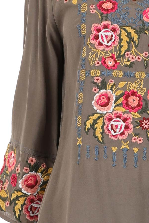 Deep Taupe Long Sleeve Top with Floral Embroidery Details detail