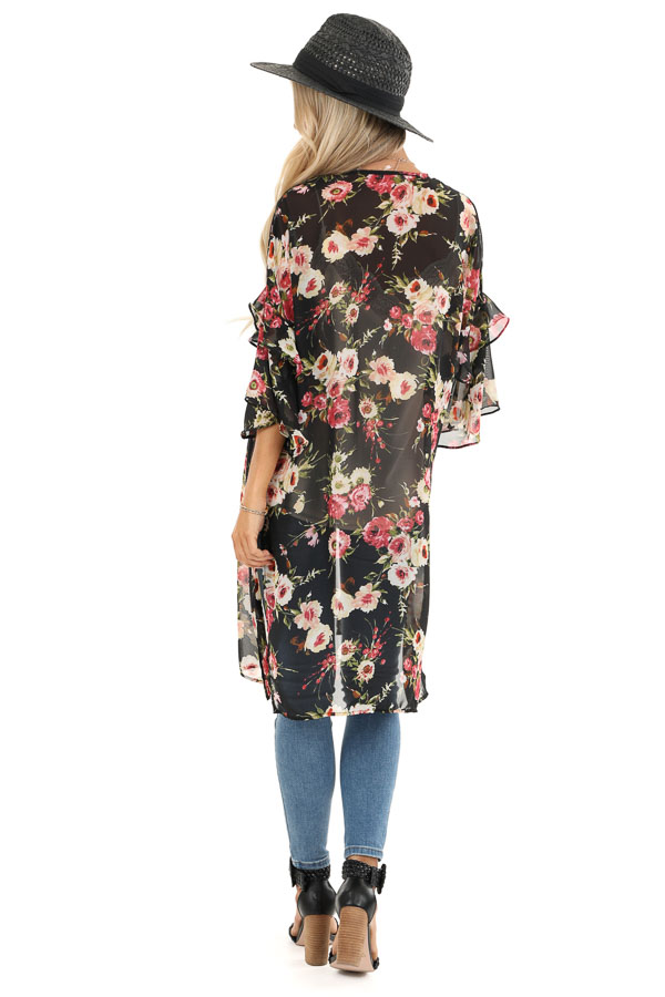 Onyx Black Floral Print Sheer Open Front Kimono with Ruffles back full body