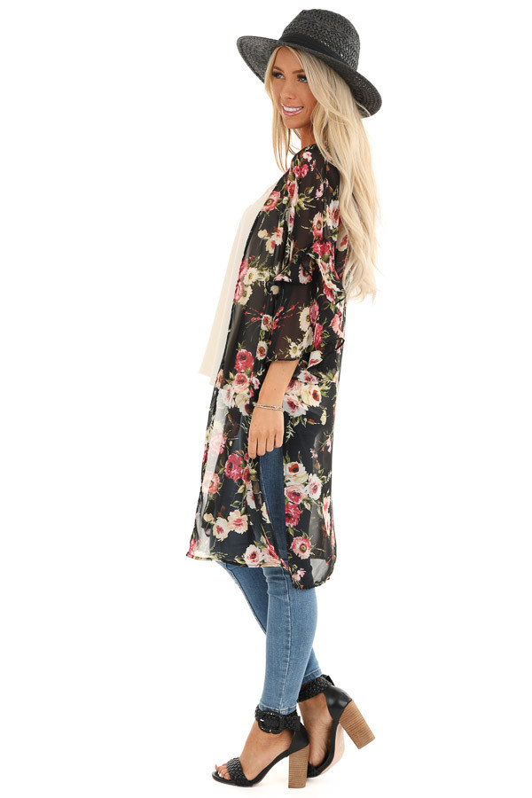 Onyx Black Floral Print Sheer Open Front Kimono with Ruffles side full body