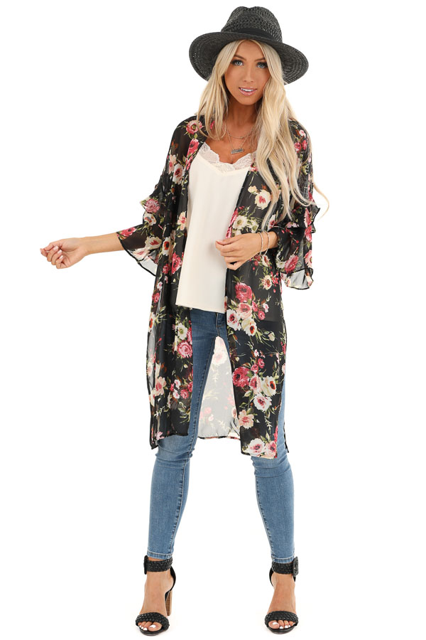 Onyx Black Floral Print Sheer Open Front Kimono with Ruffles front full body