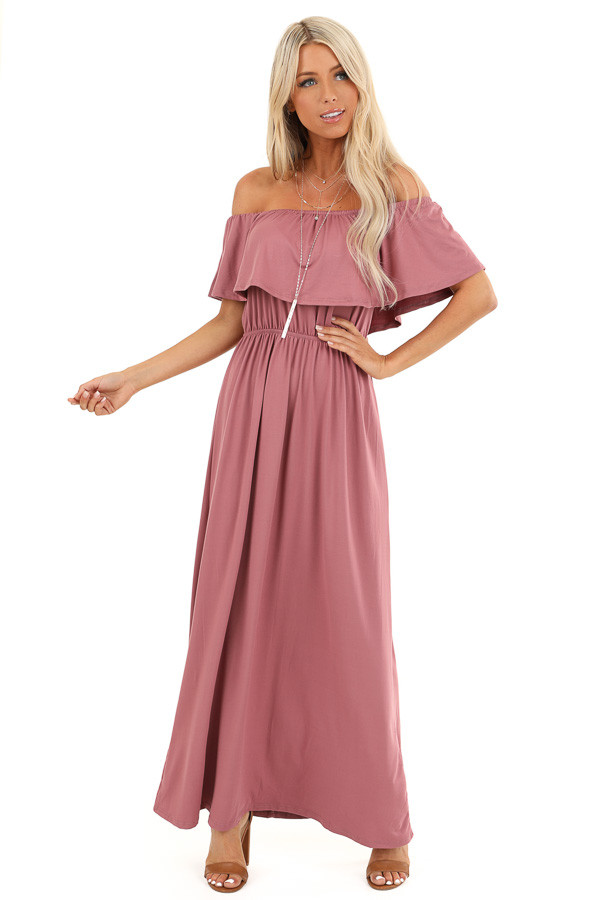 Marsala Off Shoulder Maxi Dress with Ruffle Overlay front full body