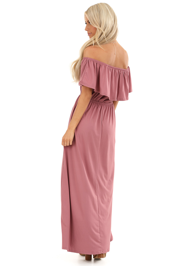 Marsala Off Shoulder Maxi Dress with Ruffle Overlay back full body