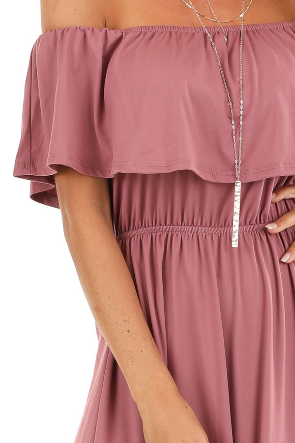 Marsala Off Shoulder Maxi Dress with Ruffle Overlay detail