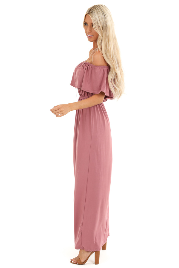 Marsala Off Shoulder Maxi Dress with Ruffle Overlay side full body