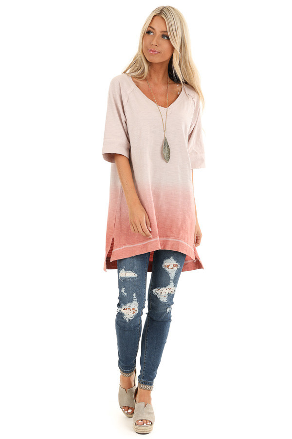 Cream and Blush Ombre Top with High Low Hemline front full body