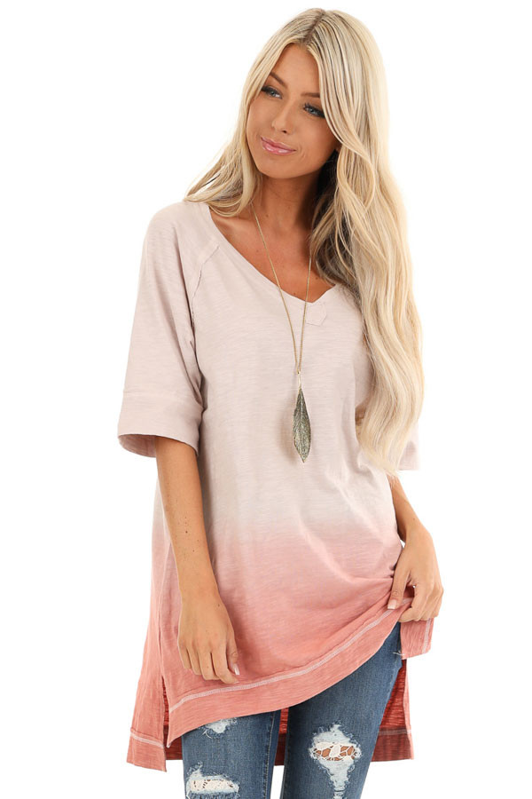 Cream and Blush Ombre Top with High Low Hemline front close up