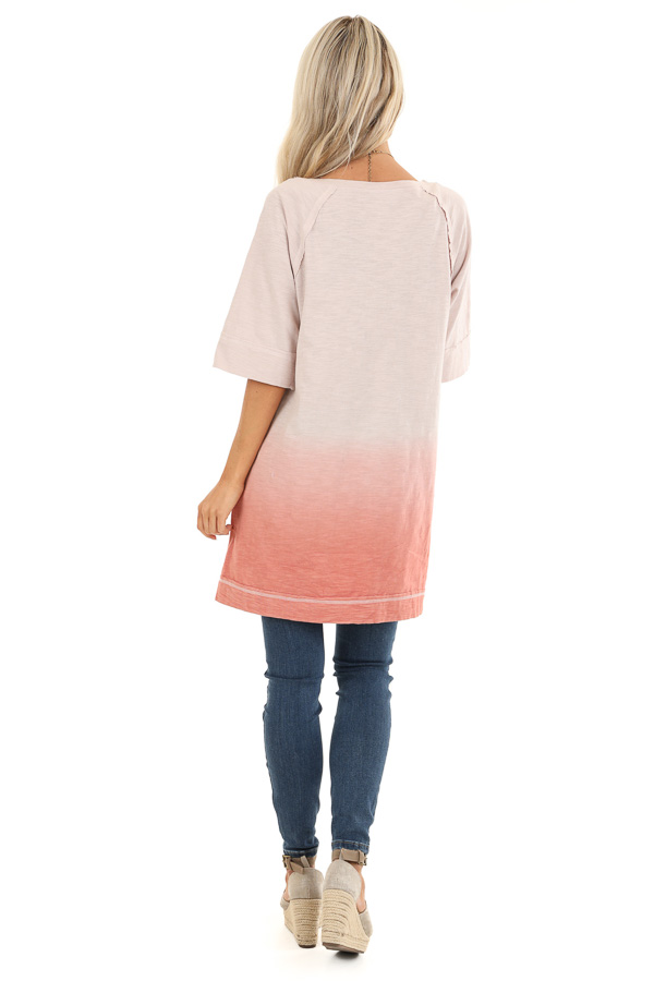 Cream and Blush Ombre Top with High Low Hemline back full body